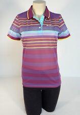 Columbia Sportswear Purple Multi Stripe Mesh Short Sleeve Polo Shirt Women NWT
