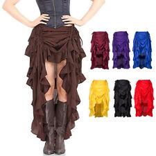 Women's Gothic Asymmetrical Skirt Steampunk Ruffle High-Low Dress HOT