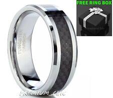 Tungsten Carbide Wedding Band Men's Engagement Ring Black Carbon Fiber Silver