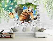 3D Drôle d'écureuil Photo Papier Peint en Autocollant Murale Plafond Chambre Art