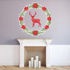 Christmas Wreath Reindeer Wall Sticker WS-46792