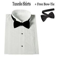 New Men's White Tuxedo Dress Shirt with Bow Tie Set Stander Cuff SG11