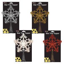 Weihnachtsdekoration - Baum Schaustück Glitter Sterne auf Feder - 30cm -