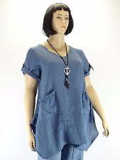 Tunika Big Size Leinen Taschen Blau A Form Zipfel Biesen Lagenlook Gr. 42 - 52