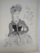 Zeichnung einer Dame signiert Tilly Kutzner *