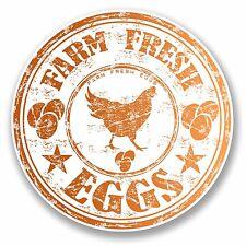 2 x 10cm Farm Fresh Eggs Chicken Vinyl Sticker Laptop Box Shop Sign Egg #9715