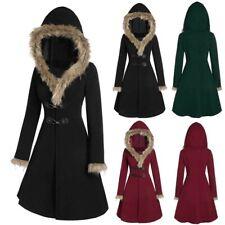 Womens Winter Warm Hooded Coat Windproof Faux Fur Parka Jacket Trench Outwear GU