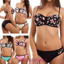 Bikinifrau badeanzug blumenmuster push up meer kanten reißverschluss slip A8915
