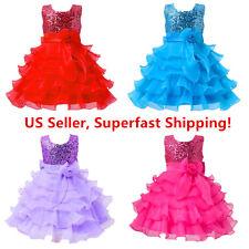 Sequined Flower Girls Tutu Ball Gown Sleeveless Dress  2-14