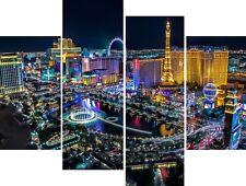 New Las Vegas Cityscape America Canvas Picture Wall Art Split Multi 4 Panel Set