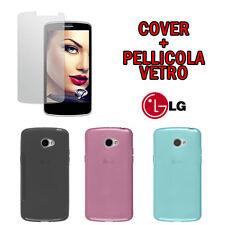 PELLICOLA VETRO TEMPERATO per LG K5 + CUSTODIA COVER TPU GEL COLORATA