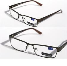 Unisex Pablo Zanetti Metal reading glasses slim rectangle Brown +1.25 +1.75 1264