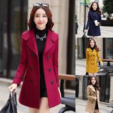 Women Winter Warm Trench Wool Parka Long Slim Coat Outwear Long Lapel Jacket New