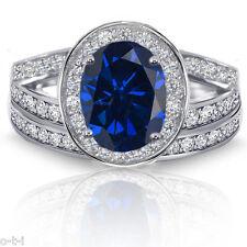 Zafiro Azul Ovalado Halo Imitación Diamantes Plata de Ley Set Anillo Compromiso