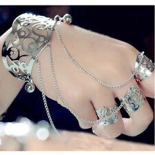 Punk Gothic Gold Slave Chain Hand Harness Wide Finger Ring Bracelet Vintage