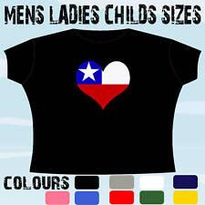 CHILE LOVE HEART SHAPED FLAG EMBLEM DESIGN T-SHIRT