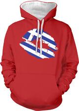 Greek Flag Colors Greece Lipstick Kiss Lips Heritage Two Tone Hoodie Sweatshirt