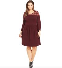 ef2cc70505c36 JESSICA SIMPSON 1X 2X Opera Sweater Dress Fit Flare Illusion Lace Yoke  Burgundy