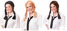 school girl plaits wig blonde black brown