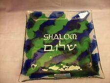 Andreas Meyer Shalom Nahariya art glass plate handmade in Israel blue / green