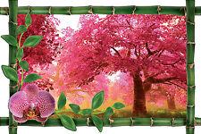 Sticker mural trompe l'oeil déco bambou Arbre fleurie réf 1045