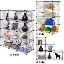 6/8/12 Cube Storage Shelf Rack DIY Wire Grid Bookcase Display Cabinet Organiser