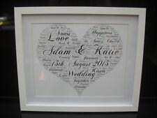 LUXURY WEDDING wordart picture WITH BOX FRAME MOUNT & diamonte