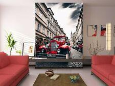 3D Red Vintege T444 Transport Wallpaper Mural Self-adhesive Removable Sunday