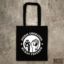 ANIMAL & HUMAN LIBERATION tote bag shopper protest animal & human rights vegan