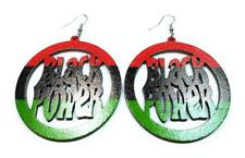 TB Africa African Black Power Rasta RYGB Wood Dangle Engrave Dangle Earrings