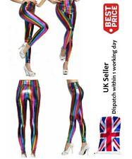 New Rainbow Metallic Ladies Womens PVC High Waist Legging Shiny Retro Disco Pant