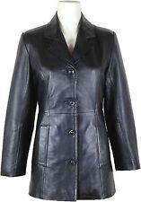 UNICORN Donne Autentico Vera Pelle Giacca Classico Stile Vestito Blazer Nero #AY