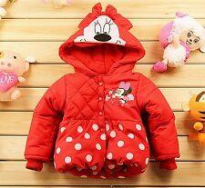 Enfants Minnie Mouse veste manteau filles sweat à capuche sweat à capuche hiver beau cadeau Bnwt Rouge