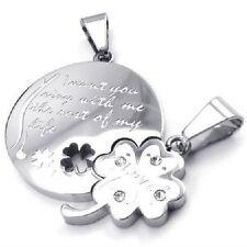 Collana Per Coppia Trifoglio Puzzle Acciaio Inox 2 Ciondolo +2 Quadrifoglio