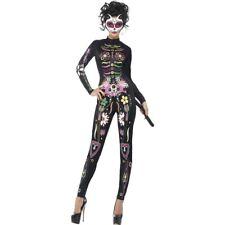 Women's Day Of The Dead Sugar Skull Cat Halloween Fancy Dress Costume Hen Party