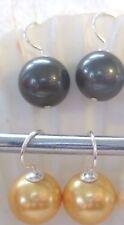 EARRINGS SEA SHELL PEARLS  BLACK, GOLDEN  12mm in size 925 Sterling Silver HOOKS