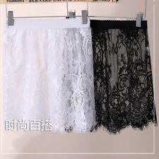 Women Lace Sheer Slip Mesh Skirt Floral Underskirt Petticoat Hollow Out Short