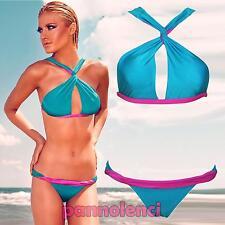 Bikini donna costume da bagno incrociato mare bicolore due pezzi nuovo DL-1234