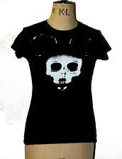 Alternative striking Mickey skull mask ladies fitted black tshirt goth rock xray