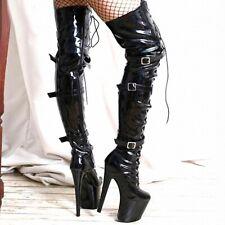 Fashion Women Thigh High Boots Platform Stilettos Heel Club Dance Shoes Big Size
