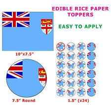 Fiji Fijian Flag Cake/Cupcake Topper Decorations On Edible Wafer Rice Paper