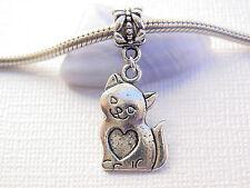 Cute Silver Tone Kitty Cat Pet Lover Love Cat Dangle Charm fit European Bracelet