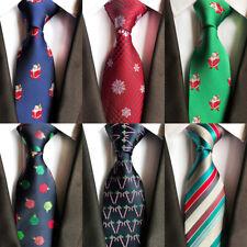 Men Tie Christmas Tree Animal Prinetd Necktie Snowmen Pattern Cravat Neck Ties