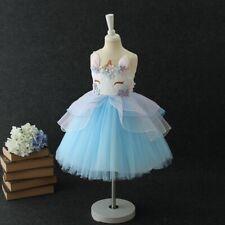 Unicorn Dress -  Girls Party Birthday Princess Tutu Dress - Pink, Blue, Purple