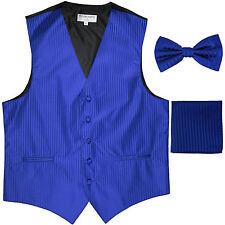New Men's Formal Vest Tuxedo Waistcoat_bowtie & hankie set stripes royal blue
