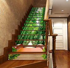 3D Bamboos Bridge 1 Stair Risers Decoration Photo Mural Vinyl Decal Wallpaper AU