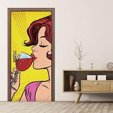 Türposter Türaufkleber Türtapete selbstklebend Pop Kunst Retro Frau mit Wein