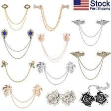 USA Fashion Retro Sweater Shawl Chain Clips Pin Brooch Cardigan Collar Holder x1