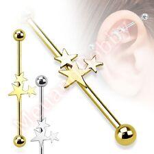 14G 38mm Star Industrial Barbell Bar Ear Ring Body Piercing Jewellery
