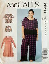 McCall's Pattern MP611 7697 Womens Tops Dress Lounge Pants and Shorts Sz 8-24W